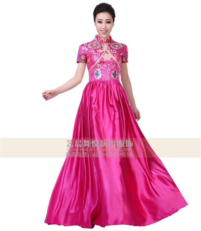 演出服装设计中国风礼服定制长裙女士礼服设计