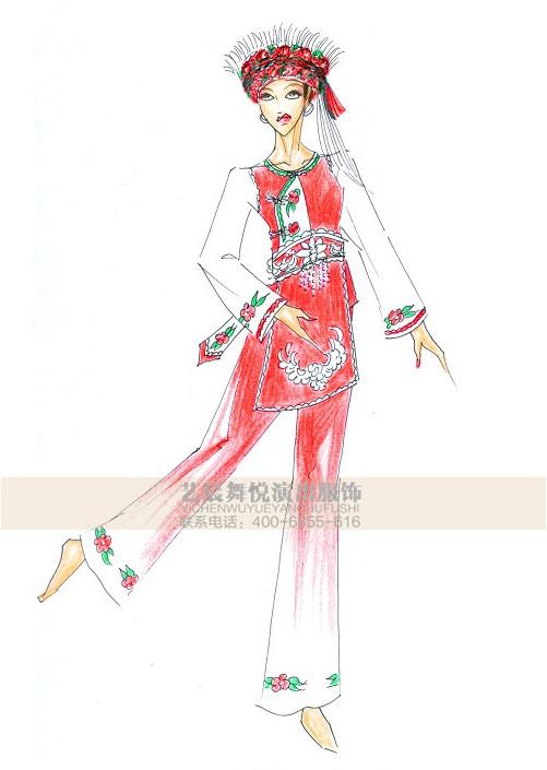 苗族服饰定做少数民族舞蹈服装设计