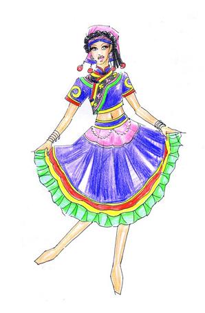 彝族舞蹈服装设计少数民族舞台演出服定制